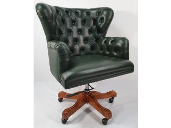 Bespoke Chesterfield Green Leather Office Chair - K250