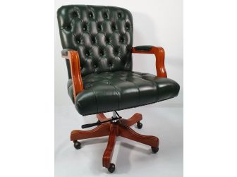 Traditional Green Leather Chesterfield Executive Office Chair - K261