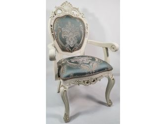 Fancy Traditional Duck Egg Blue Fabric Chair - T05