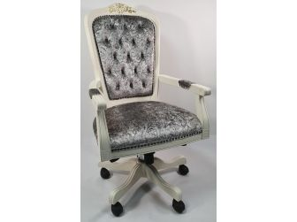 Bespoke Silver Grey Chenille Fabric Chesterfield Office Chair - K204