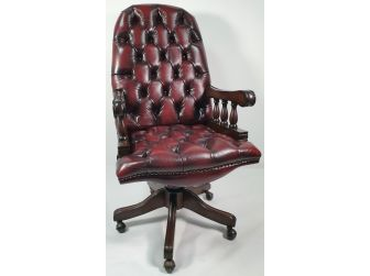 High Back Unique Style Executive Office Chair in Burgundy Leather - K203