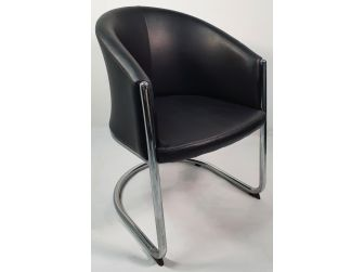 Black Bonded Leather Tub Visitor Chair - F95BS