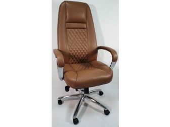 High Back Tan Leather Executive Office Chair - 1712A