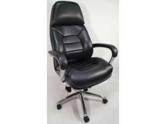 High Back Bucket Seat Style Black Leather Executive Office Chair - 188A