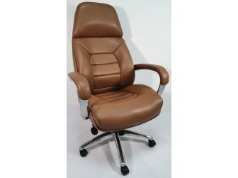 High Back Bucket Seat Style Tan Leather Executive Office Chair - 188A