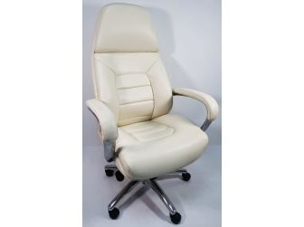High Back Bucket Seat Style White Leather Executive Office Chair - 188A