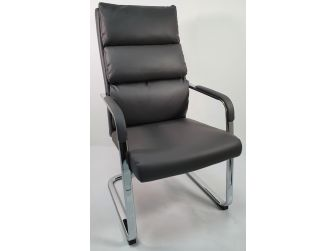 High Back Soft Pad Grey Leather Visitor Chair - HB-210C