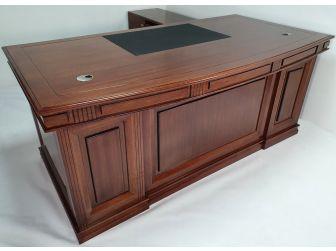 Stunning Curved Real Light Walnut Veneer Executive Office Desk - JN1001