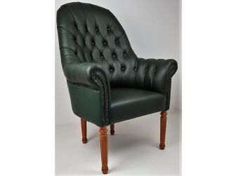 Solid Wood Frame Real Leather Chesterfield Visitor Chair