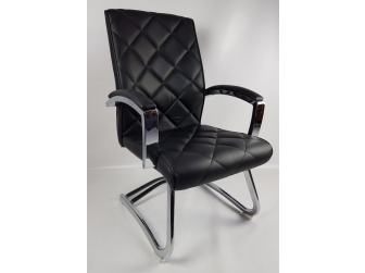 Quilted Black Leather Stylish Cantilever Visitors Chair - ZV-B217