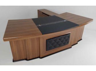 Large Oak Executive Desk With Padded Black Leather Front Panel Detailing DES-3211