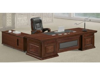 Executive Office Desk Wood/ Faux Leather EMP-DSK516