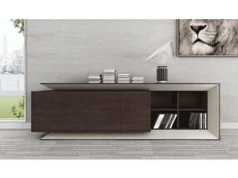 Large Executive Office Sideboard Cupboard Chocolate Walnut and Ivory 0C6T312