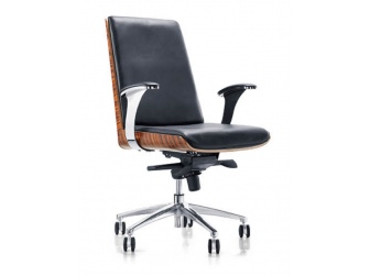 Black Leather Executive Office Chair with Walnut Veneer Shell - YS1205B