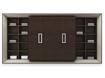 Chocolate Walnut Extra Large Executive Bookcase with Ivory Accents DES-06T008
