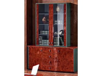 Executive Gloss Walnut with Olive Leather Bookcase - 6834A