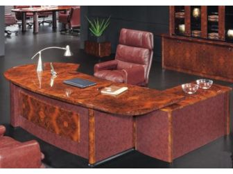 Luxury Executive Desk With Curved Design HAY-16841 Walnut with Burgundy Leather 2600mm