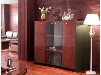 Walnut Gloss & Olive Leather Executive Cabinet - 6865T