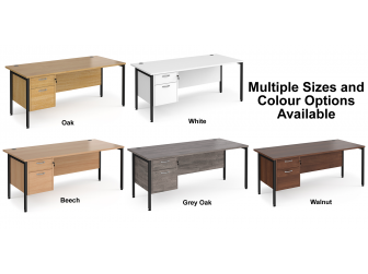 Maestro 800mm Deep Straight H Office Desk with Two Drawer Pedestal