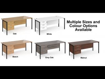 Maestro 800mm Deep Straight H Office Desk with Three Drawer Pedestal