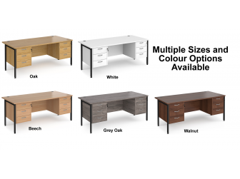Maestro 800mm Deep Straight H Office Desk with Three and Three Drawer Pedestal
