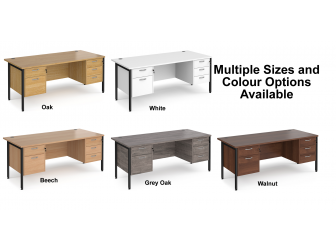 Maestro 800mm Deep Straight H Office Desk with Two and Three Drawer Pedestal