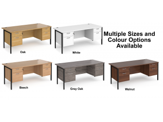 Maestro 800mm Deep Straight H Office Desk with Two and Two Drawer Pedestal