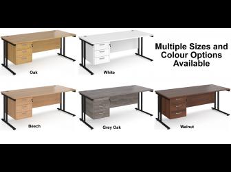 Maestro 800mm Deep Straight Cantilever Leg Office Desk with Three Drawer Pedestal