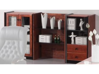 Mahogany finish office credenza with glass doors and drawers 8805T