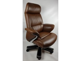 Large Luxury Executive Office Chair with Genuine Brown Leather - YS1605A
