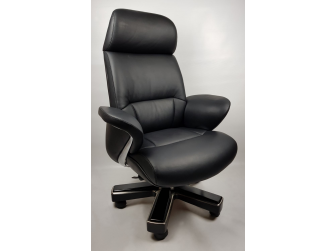 Large Luxury Executive Office Chair with Genuine Black Leather - YS1605A