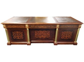 Dark Walnut Executive Office Desk With Brown Leather Writing Pad - 0808