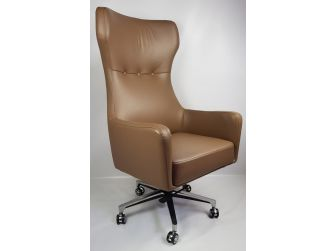 Brown Leather High Back Modern Wingback Style Executive Office Chair A022