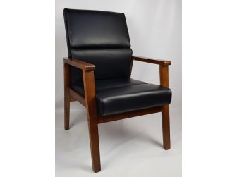 Black Leather Solid Wood Frame Executive Visitor Chair - HB-1819C