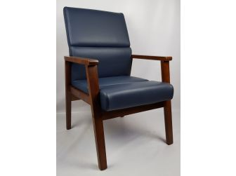 Blue Leather Solid Wood Frame Executive Visitor Chair - HB-1819C