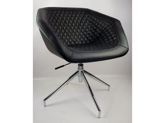 Black Swivel Base Diamond Style Quilted Tub Reception Chair HB-182
