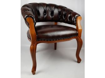 Solid Wood Frame Real Leather Chesterfield Captains Visitor Chair HSN-CPT-307
