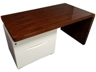 Gloss Walnut Desk with Built in Drawers - 0957