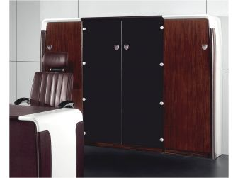 High Gloss Walnut & White Bookcase with Black Glass Doors - B1483D