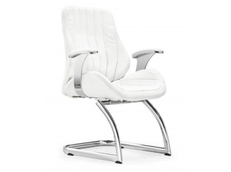 White Leather Executive Visitors Chair - J04C