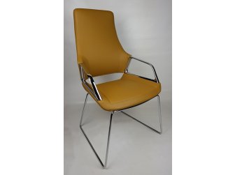Beige Leather Executive Visitors Chair - 1319C