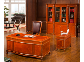 Luxury Solid Wood Executive Desk with Side Table and Bookcase 1800mm STR-10815