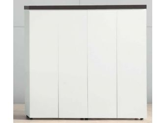 Gloss White Bookcase with Black Leather Top - B1361