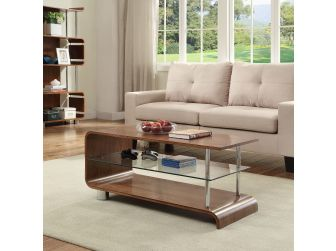 Curved Retro Style Coffee Table in Walnut Veneer - BS203
