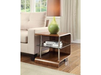 Retro Curved Style Lamp Table in Walnut Veneer - BS204