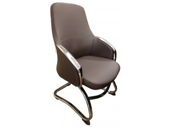 Brown Leather with Chrome Base Cantilever Visitors Chair - J1507C