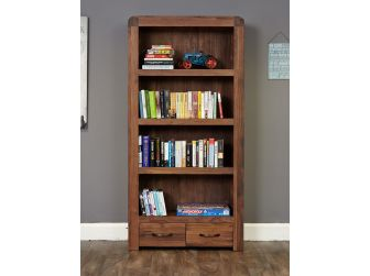 Walnut Large Bookcase With 2 Drawers CDR01A