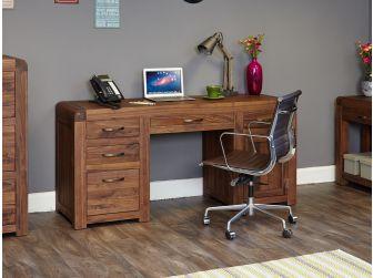 Walnut Twin Pedestal Computer Desk CDR06B