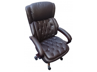 Large Chesterfield Style Wood Frame Brown Leather Executive Office Chair - CS-2027E