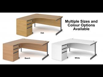 Contract Cantilever Leg Left Hand Ergonomic Desk with Desk High Pedestal